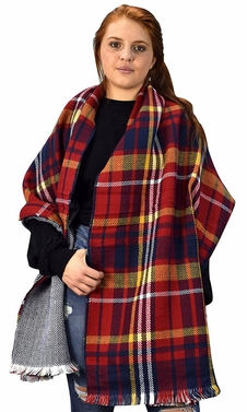 Plaid Tartan Herringbone Reversible Winter Blanket Scarf Red/Navy 90