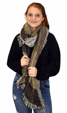 Plaid Tartan Oversized Oblong Cashmere Feel Oblong Blanket Scarves Brown