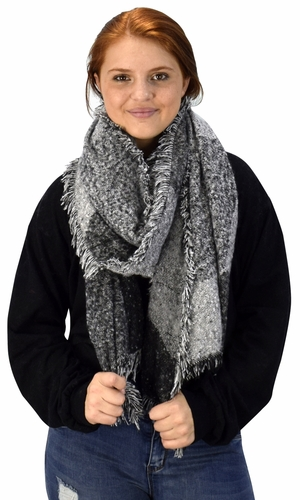 Plaid Tartan Oversized Oblong Cashmere Feel Oblong Blanket Scarves Grey/Black