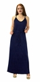 Pleated Fabric Waist Tie Perfect Shiny Cocktail Evening Maxi Dress - Navy