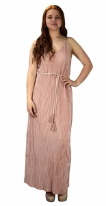 Pleated Fabric Waist Tie Perfect Shiny Cocktail Evening Maxi Dress - Pink