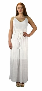 Pleated Fabric Waist Tie Perfect Shiny Cocktail Evening Maxi Dress - White