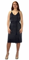 Pleated Fabric Waist Tie Perfect Shiny Cocktail Evening Midi Dress - Navy