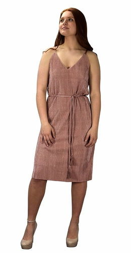 Pleated Fabric Waist Tie Perfect Shiny Cocktail Evening Midi Dress - Rose