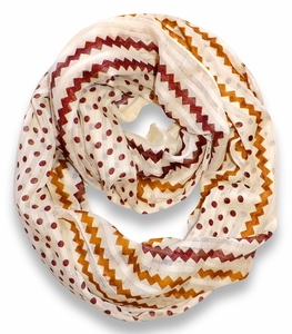 Polka Dot Chevron Lightweight Infinity Loop Circle Scarf (Ivory)