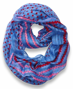 Polka Dot Chevron Lightweight Infinity Loop Circle Scarf (Periwinkle)