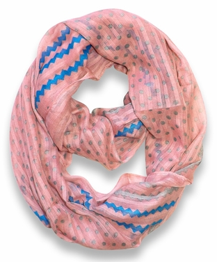 Polka Dot Chevron Lightweight Infinity Loop Circle Scarf (Pink)