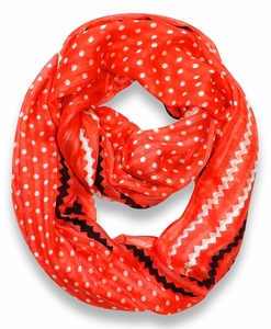Polka Dot Chevron Lightweight Infinity Loop Circle Scarf (Red)