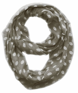 Polka Dot Infinity Loop Scarf (Grey/White)