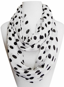 Polka Dot Lightweight Black and White Infinity Circle Scarf in White & Black
