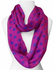 Polka Dot Lightweight Infinity Circle Scarf in Fuchsia & Blue