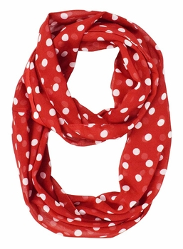 Polka Dot Lightweight Infinity Circle Scarf in Strawberry & Cream