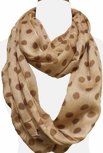 Polka Dot Lightweight Infinity Circle Scarf in Taupe & Brown