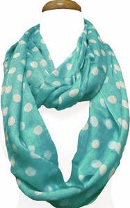 Polka Dot Lightweight Infinity Circle Scarf in Teal & Ivory