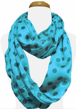 Polka Dot Lightweight Infinity Circle Scarf in Turquoise & Dark Green