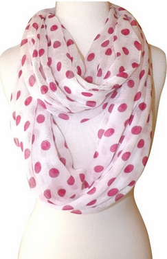 Polka Dot Lightweight Infinity Circle Scarf in White & Fuchsia