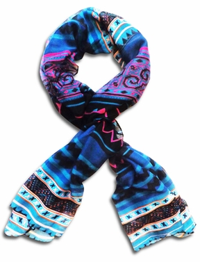 Tribal Aztec Print Design Chevron Long Scarf  (Blue/Black)