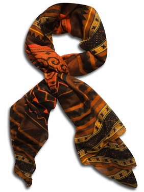 Tribal Aztec Print Design Chevron Long Scarf  (Brown/Black)