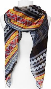Tribal Aztec Print Design Chevron Long Scarf  (Gray/Black/Yellow)