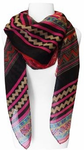 Tribal Aztec Print Design Chevron Long Scarf  (Pink/Red)