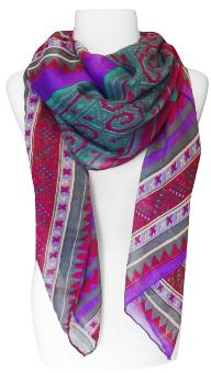 Tribal Aztec Print Design Chevron Long Scarf (Purple/Teal)