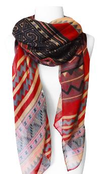 Tribal Aztec Print Design Chevron Long Scarf (Red/Tan)