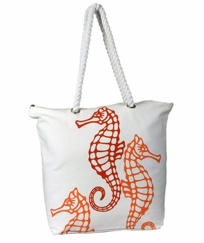 Premium Cotton Canvas Beach Handbags Nautical Seahorse Design