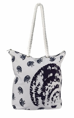 Premium Cotton Canvas Beach Handbags Nautical Seashell Design