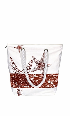 Nautical Starfish Bags Pure Cotton Canvas Bags Beach Bags Hobo bags Handbags Purses Tote Bags Red