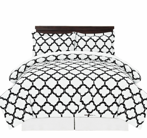 Premium Quality Ultra Soft Reversible Fretwork Print Elegant Comforter Bed in Bag 8 piece Set with Alternative Pillow shams and Pillowcases Black, King
