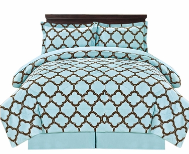 Premium Quality Ultra Soft Reversible Fretwork Print Elegant Comforter Bed in Bag 8 piece Set with Alternative Pillow shams and Pillowcases Blue, Queen