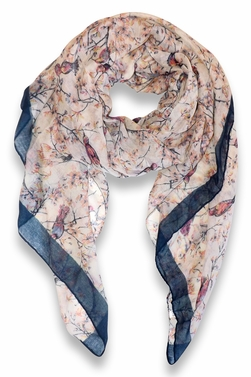 Pretty Vintage Floral Blossom Hummingbird Print Light Sheer Scarves - Cream