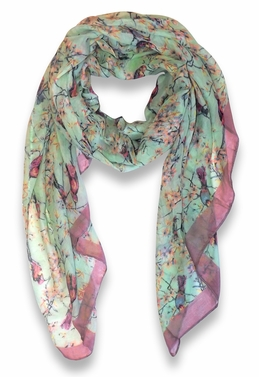 Pretty Vintage Floral Blossom Hummingbird Print Light Sheer Scarves - Mint