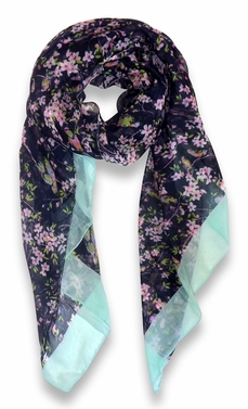 Pretty Vintage Floral Blossom Hummingbird Print Light Sheer Scarves - Navy