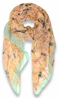 Pretty Vintage Floral Blossom Hummingbird Print Light Sheer Scarves - Peach