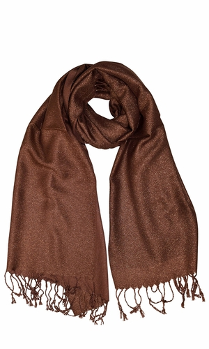 Princess Shimmer Scarf Pashmina Shawl with Fringes Brown