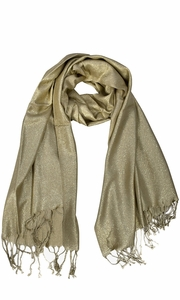 Princess Shimmer Scarf Pashmina Shawl with Fringes Gold
