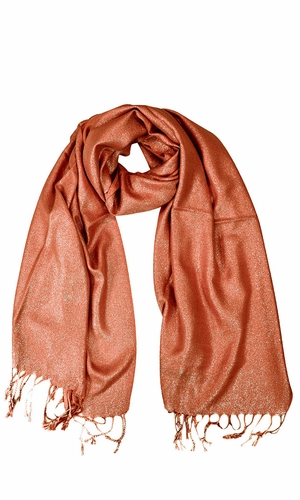 Princess Shimmer Scarf Pashmina Shawl with Fringes Orange