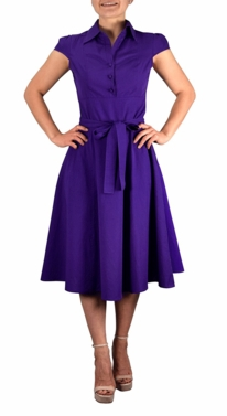 Retro Style 100% Cotton Button Up Tea Party Swing Vintage Dress Fabric Belt (Purple)