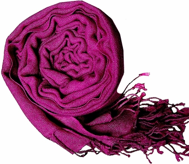 Warm and Soft 100% Wool Shawl (Deep Magenta)