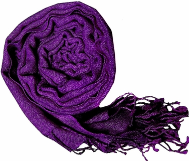 Warm and Soft 100% Wool Shawl (Deep Purple)