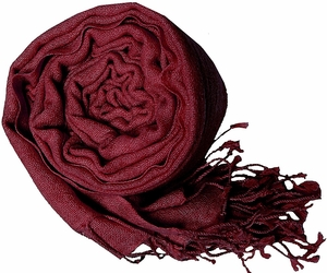 Warm and Soft 100% Wool Shawl (Maroon)
