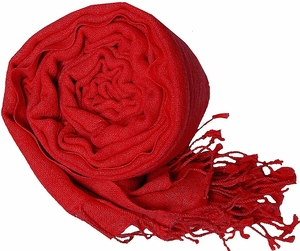 Warm and Soft 100% Wool Shawl (Red)