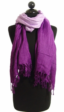 Multicolored Faded Ombr� Faded Cotton Tie Dye Scarf (Purple and Lavender)