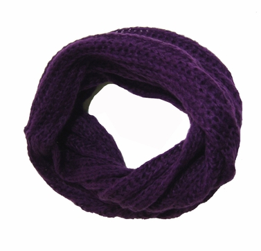 Purple Knitted Infinity Loop Scarf