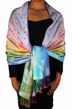 Rainbow Silky Tropical Feather Pashmina Wrap Shawl Scarf (Faded Lavender)