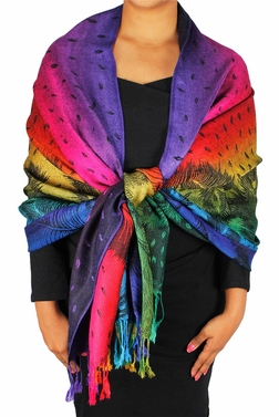 Rainbow Silky Tropical Feather Pashmina Wrap Shawl Scarf (Peacock)
