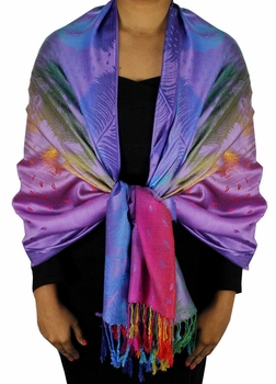 Rainbow Silky Tropical Feather Pashmina Wrap Shawl Scarf (Purple Fade)