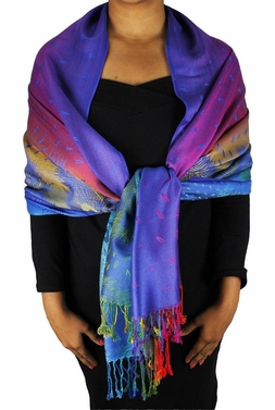 Rainbow Silky Tropical Feather Pashmina Wrap Shawl Scarf (Sea Blue)