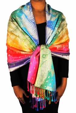 Rainbow Silky Tropical Feather Pashmina Wrap Shawl Scarf (Tan)